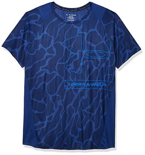 Photo of Under Armour Men's Mk1 Tonal Print Short Sleeve Training Workout Shirt, American Blue (449)/Versa Blue, XX-Large