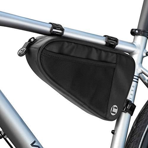 Bolsa de Triángulo para Bicicleta, Maxjaa Bolsa de Cuadro Triangular para Bicicleta de 1L, Bolsa de Almacenamiento Triangular Impermeable para Bicicleta con Bolsillos de Malla y Rayas Reflectantes