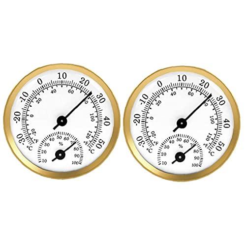 Yililay Medidor de Humedad termómetro higrómetro Pantalla Pointer Pointer Psicrómetro Temperatura de Efecto Invernadero del Coche 2 Piezas de Oro