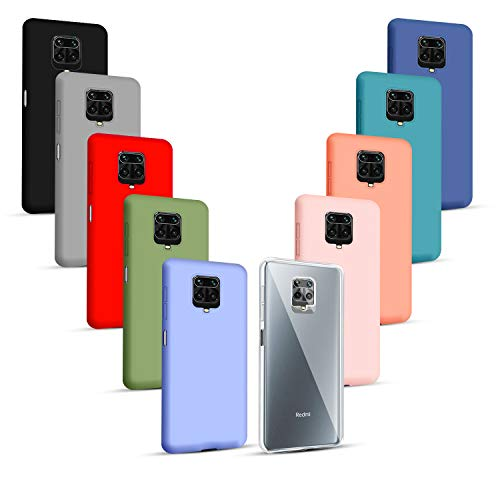 Iuveruln 10X Funda Compatible Xiaomi Redmi Note 9S/Note 9 Pro/Note 9 Pro MAX, Color Sólido Silicona TPU Suave, Carcasa Protección Flexible Trasera, Funda Ultrafina Resistente Arañazos, 10 Colo