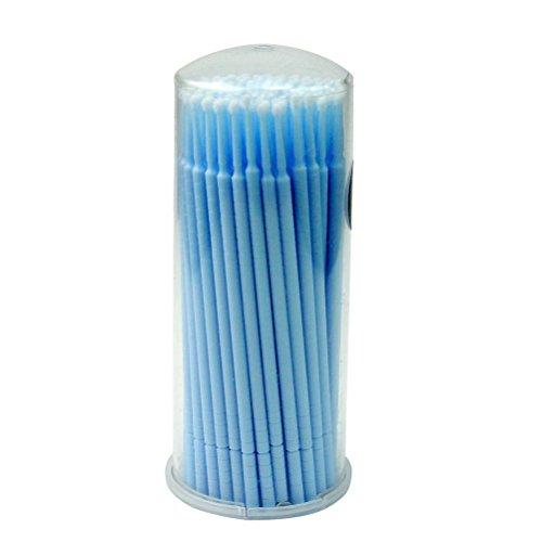 Frcolor Micro Pinceau Jetables Applicateurs Mascara pour Extension de Cils 100pcs (Bleu)