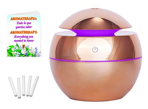 Diffuser voor etherische oliën, elektrisch, met 5 reservefilters en boek, aromatherapie, ultrasone luchtbevochtiger, aromatherapie, thuis, kantoor, kleurverandering, ronde vorm