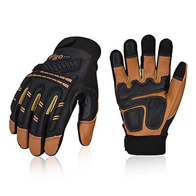 Vgo 2Pairs 32? or above Winter Waterproof High Dexterity Heavy Duty Mechanic Glove,Rigger Glove,Anti-vibration,Anti-abrasion,Touchscreen(Brown,GA8954)