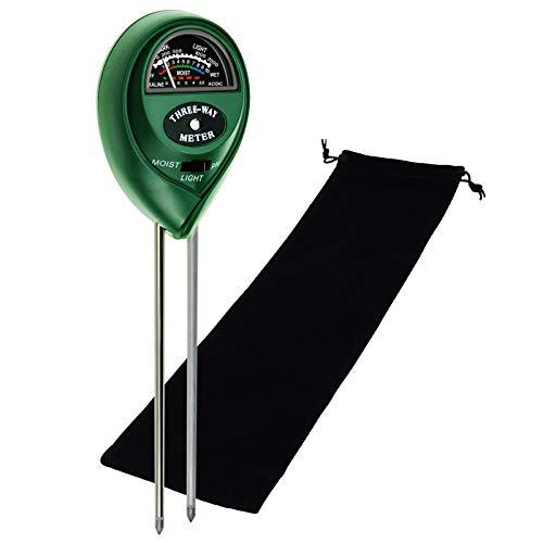 3-in-1 Soil pH, Moisture & Light Meter Tester Probe Sensor, Gardening Plants Growth Watering Quality Monitoring Acidity Test Tool Kits for Garden Farm Lawn (Green PH/Moisture/Light Meter + Bag)