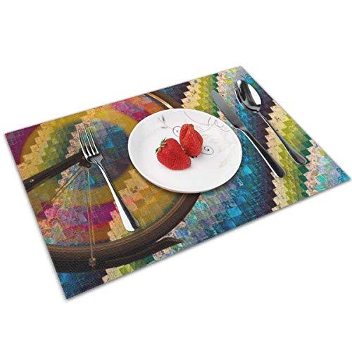 UPNOW Farbige Autoreifen Tischsets Hitzebeständige Tischsets Fleckenresistente rutschfeste waschbare Polyester-Tischsets Küchentisch-Tischsets 6er-Set 12 x 18 Zoll