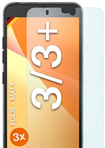 moex Schutzfolie matt kompatibel mit Fairphone 3/3 Plus - Folie gegen Reflexionen, Anti Reflex Bildschirmschutz, Matte Bildschirmfolie - 3X Stück