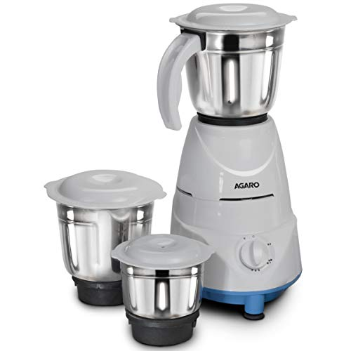 AGARO 33265 500W Mixer Grinder with 3 Jars and 3 Speed Settings, Blue, White
