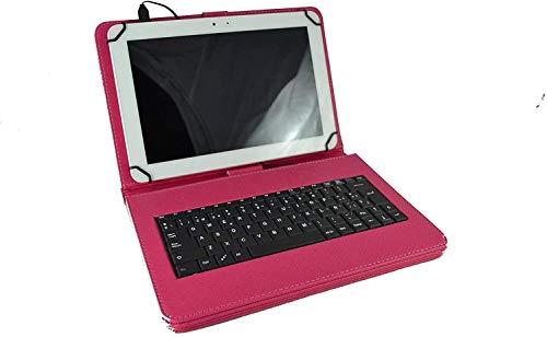 theoutlettablet® Funda con Teclado extraíble en español (Incluye Letra Ñ) Type-C para Tablet Samsung Galaxy Tab S4 10,5 / Tab S3 9,7 Color Fucsia