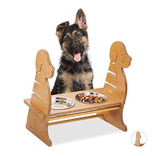 Relaxdays, natur Futterbar für Hunde, 2 Edelstahl Hundenäpfe, je 500 ml groß, Dog-Design, höhenverstellbar, Bambus-Optik, 29,5 x 43,5 x 40 cm