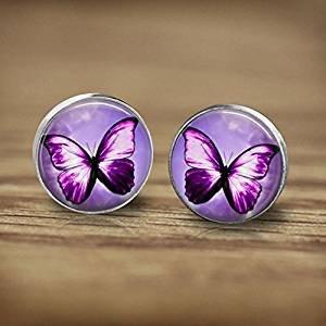 Pendientes de tuerca, diseño de mariposa de color lila con mariposa, pendientes de plata de calidad, pendientes vintage antiguos, joyas de fantasía, cristal, imagen artística, pendientes de mo