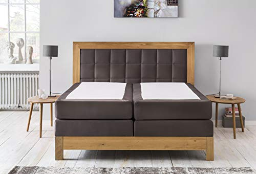 Furniture for Friends–Cama Puzzle roble salvaje maciza/terra marrón, 7zonas Colchón de muelles ensacados Hotel, cama de matrimonio tapizada cama