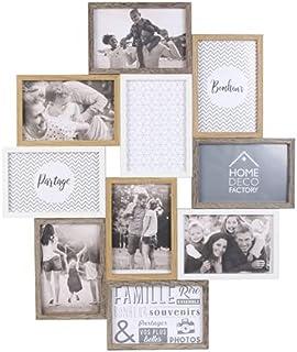 HOME DECO FACTORY HD4213 Cadre Photo Multiple Pele-Mele 10 Vues Bois Et Blanc Deco Souvenir, MDF Verre, Beige Marron, 47 x...