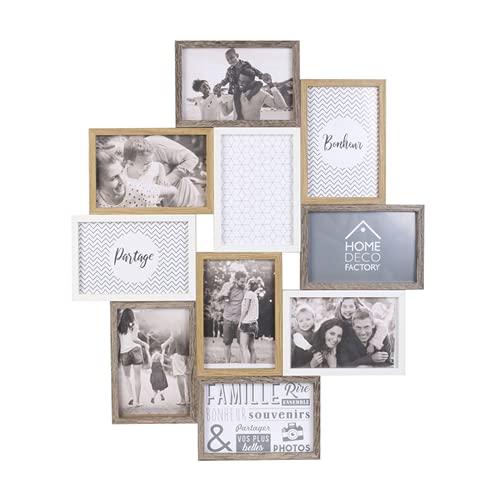 HOME DECO FACTORY HD4213 Cadre Photo Multiple Pele-Mele 10 Vues Bois Et Blanc Deco Souvenir, MDF Verre, Beige Marron, 47 x 2,8 x 56 cm