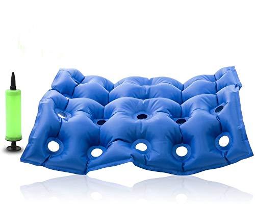 CareforYou® Sitzkissen für Stühle / Rollstühle, aufblasbar, verhindern Wundliegen und Dekubitus, ideal für langes Sitzen, mit Pumpe, FDA CE-Zulassung, 43,2x 43,2cm