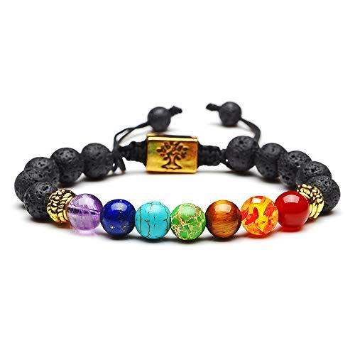 crintiff - Bracelet 7 Chakra Reiki Charme et Perles d energie tibétain Bouddhiste