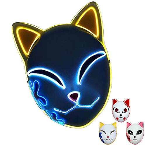 Máscara de asesino de demonio, réplica de máscara de gato de zorro de demonio, máscara de Halloween LED japonesa anime Demon Slayer-Red