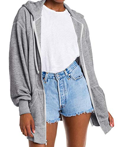 Auxo Damen Pullover Hoodies Strickjacke Langarmshirt Sweatjacke Reißverschluss Sweatshirt Oberteile Grau Medium