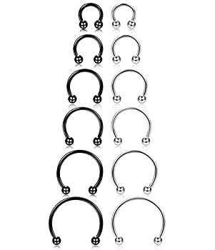 ORAZIO 12Pcs 14-16G Stainless Steel Nose Rings Septum Piercing Cartilage Horseshoe Earring Body Piercing 6MM-16MM Black and Silver Tone