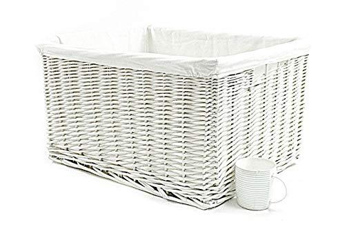 Big Huge Deep Children Kids Baby Nursery Storage Wicker Basket Toy Box Organiser[White XX Large: 58x43x32cm]