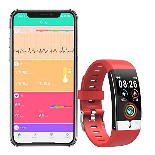 Zeerkeer ECG y Reloj de Pulsera Monitor de frecuencia cardíaca PPG Fitness Watch para Actividad Física Fitness Tracker Contador de Pasos para Mujeres (Verde-Rosa)