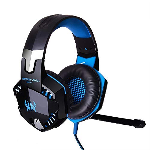 Flymemo EACH G2000 USB and Audio Jack Dual Input Gaming Headset Stereo Headphone Sound Headset Stretchable Band 2.2m Nylon Coated Cable for PC Game BLUE