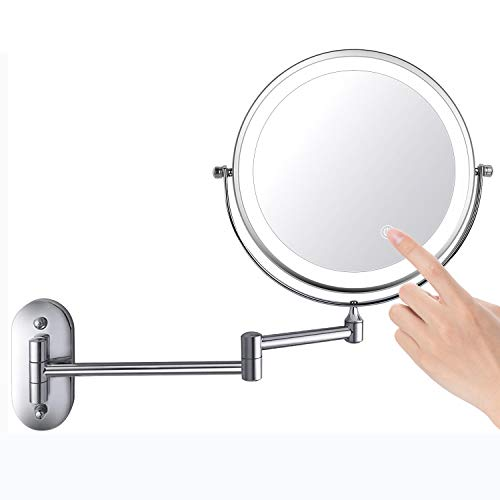 """ZEPHBRA 8"""" LED Wall Mounted Makeup Mirror Touch Screen Adjustable Light Double Sided 1X/5X Magnifying Vanity Mirror Swivel Extendable for Bathroom Hotels Powered by Batteries (Not Included) (Silver)"""