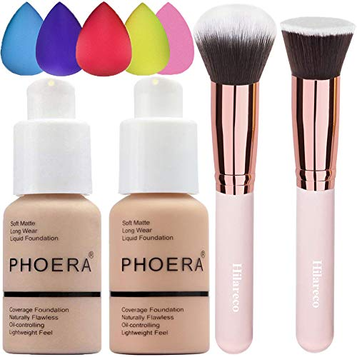 Phoera Foundation 102 and 103,Hilareco Full Coverage Foundation Set, Foundation Brush Powder Brush,5 Makeup Sponge,Flawless 30ml Natural Matte Oil Control (Nude #102 + Warm Peach #103)