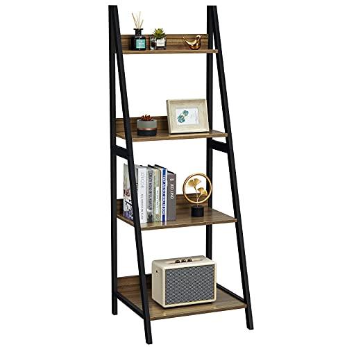 GreenForest Ladder Shelf 4 Tier Bookshelf Industrial Bookcase Storage Rack Shelves for Living Room, Home Office, Espresso