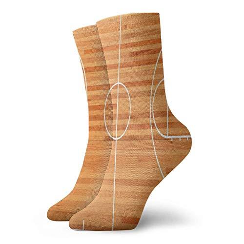 Standard-Socken für Damen, Bodenplan auf Parkett, Hintergrund, Basketballplatz, Spielplatz, 30 cm