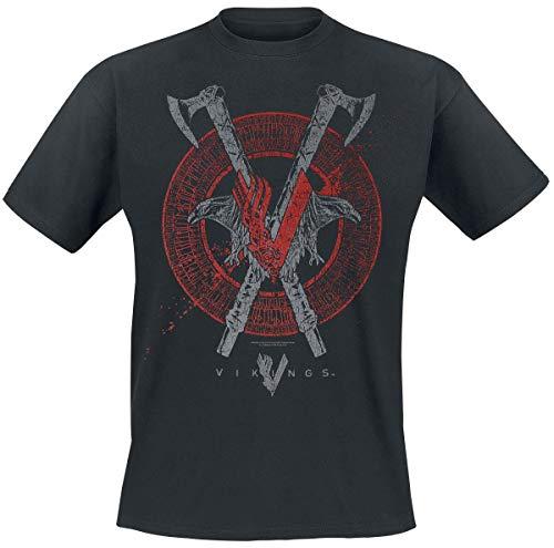 Vikings Axe & Raven Männer T-Shirt schwarz M 100% Baumwolle Fan-Merch, TV-Serien