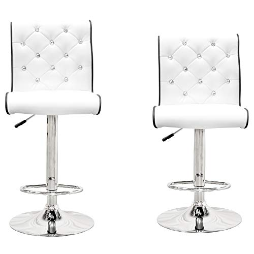 Best Master Furniture Tufted Vinyl with Faux Crystals Adjustable Swivel Bar Stool - Set of 2, White