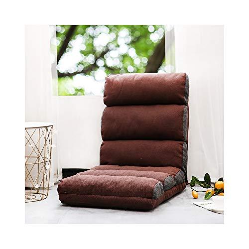 ZYLE Sofá Silla Tatami Lazy Sofá Único Sofá de Tela Silla Plegable Cama Bahía Ventana Silla 56 × 114 × 16cm (Color : Brown)
