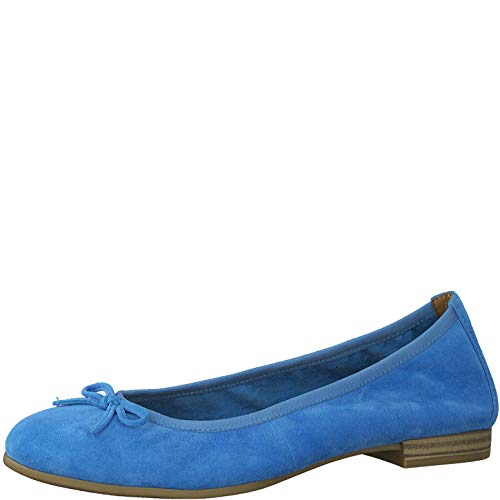 Tamaris Damen Ballerinas 22166-34, Frauen KlassischeBallerinas, Women's Woman Freizeit leger Flats sommerschuh elegant Lady,Pool,40 EU / 6.5 UK