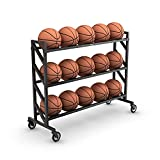 Murray Sporting Goods Premium Basketball Storage Ball Rack   3-Tier 15-Ball Heavy Duty Basketball Ball Cart with Drop Pin for Shooters Preference