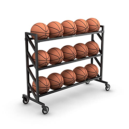 Murray Sporting Goods Premium Basketball Storage Ball Rack | 3-Tier 15-Ball Heavy Duty Basketball Ball Cart with Wheels | Drop Pin for Shooters Preference