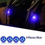 Porte Voiture Feux d'avertissement Universal LED Voiture Ouverture porte d'avertissement Anti-collision Lumières Capteur magnétique Strobe Clignotant alarme Lumières lampe Bleu x 4 pièces