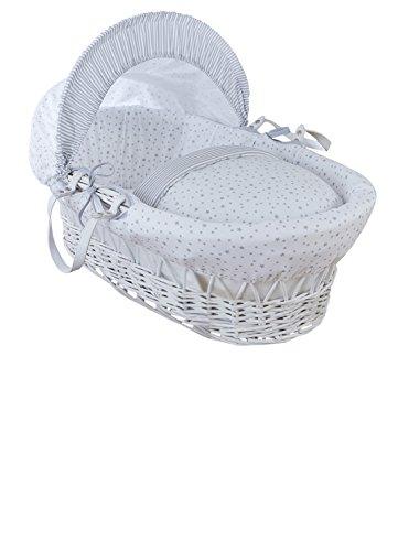 Clair de Lune, cesta per neonato, motivo stelle e strisce, in vimini, bianca, con Lenzuola, materasso e cappotta regolabile