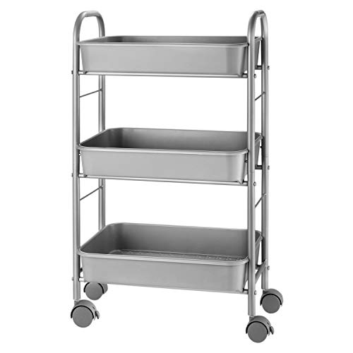 Simple Trending 3-Tier Metal Rolling Storage Cart, Utility Organizer Cart Storage Shelves with Plastic Basket on 2 Lockable Wheels for Kitchen Bathroom,Silver