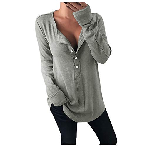 Aniywn Women's Ladies Thin Long Sleeve Tunic T-Shirt Baggy V-Neck Buttons Pure Color Tee Pullover Blouse Gray