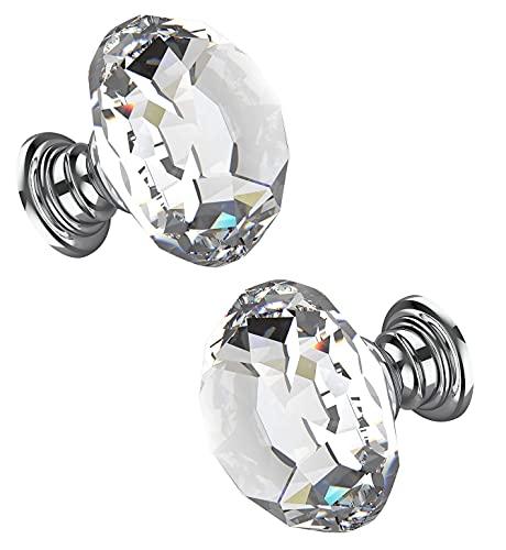 2 Stück Kristall Schubladenknöpfe Kommode Möbelknöpfe 30mm Kristall Schrankknöpfe Zinklegierung Kristallglas Moebelknauf Griff Garderobe Ziehgriffe Möbelgriff