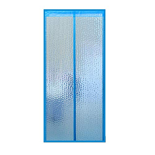 Liveinu Cortina Térmica Magnética Con Aislante Térmico Para Puerta De Aire Acondicionado o Cocina, Cortina Mosquitera Magnética Para Puertas de Verano e Invierno 120x210cm Azul