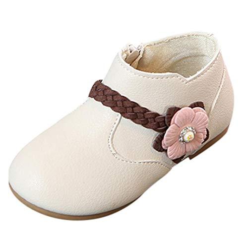 Zapatos de bebé, ASHOP Niña Casuales Zapatillas del Otoño Invierno Deporte Antideslizante del Zapatos Flor Tejido Princesa Zip Botas 0-6 Años (Beige,1-1.5 Años)