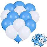 Faburo 80pcs Globos Azules y Globos Blancos Decoración , Globo Latex Azules y Blancos, para Decoracion Cumpleaños Niño, Decoracion Bautizo, Baby Shower Niño