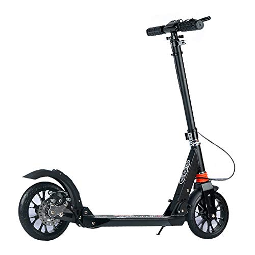 2 wheels scooters Scooters 2 Wheel Kick, Foldable for Kids and Adult, Campus Big Wheel Toy, Handbrake + Disc Brake (Color : Black)