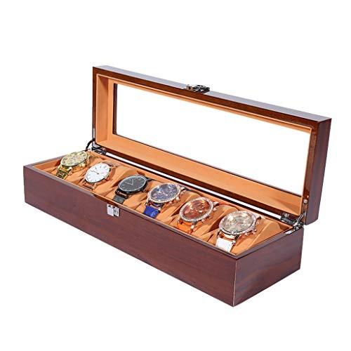 LAMZH Reloj Caja 3/5/6/8/12 Compartimentos, Caja para Relojes Madera Cajas y Organizadores, Estuche de Relojes, Hebilla Metálica Coleccion y Almacenamiento Caja Almacenamiento Reloj