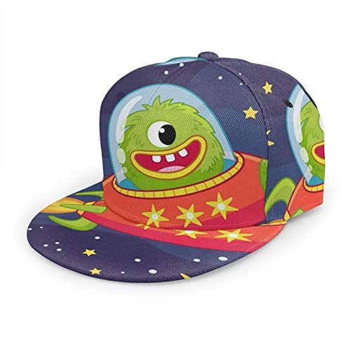 Gorra de béisbol plana 3D Alien Monster Flying in Spaceship Flat Brim ajustable Snapback Caps Casual Dad Hat Trucker Sombreros para hombres y mujeres negro