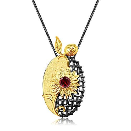Collar con colgante de piedras preciosas de granate natural hecho a mano de plata de ley 925 para mujer, boda