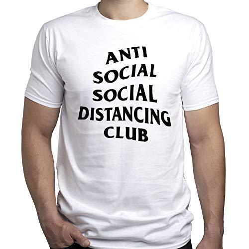 Social Distance Anti Social Covid 19 Tshirt Camiseta para Hombre Blanco XL