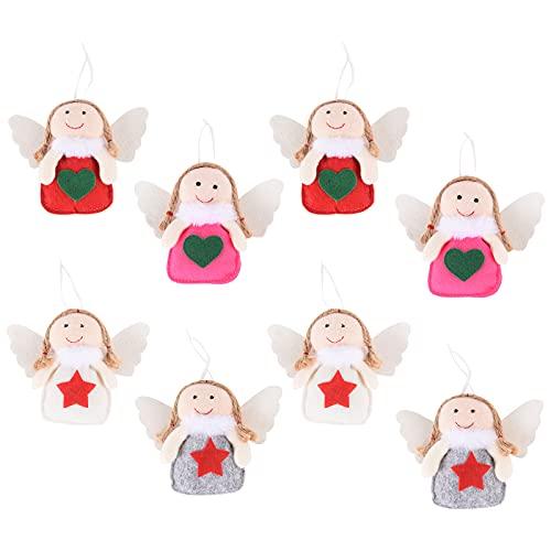 Adornos de decoración de Navidad, 8 piezas de adornos de ángeles de Navidad árbol de Navidad decoraciones colgantes muñeca de ángel de Navidad para la decoración del hogar de Navidad