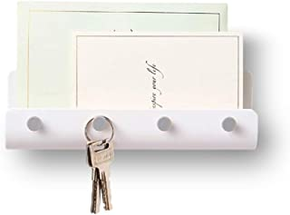 Adhesive Hooks Wall Key Hooks Holder Mail Letter Organizer Wall Key Holder Key Hangers for Wall Key Shelf Rack for Entryway Kitchen Bathroom Door - 1 Pack White